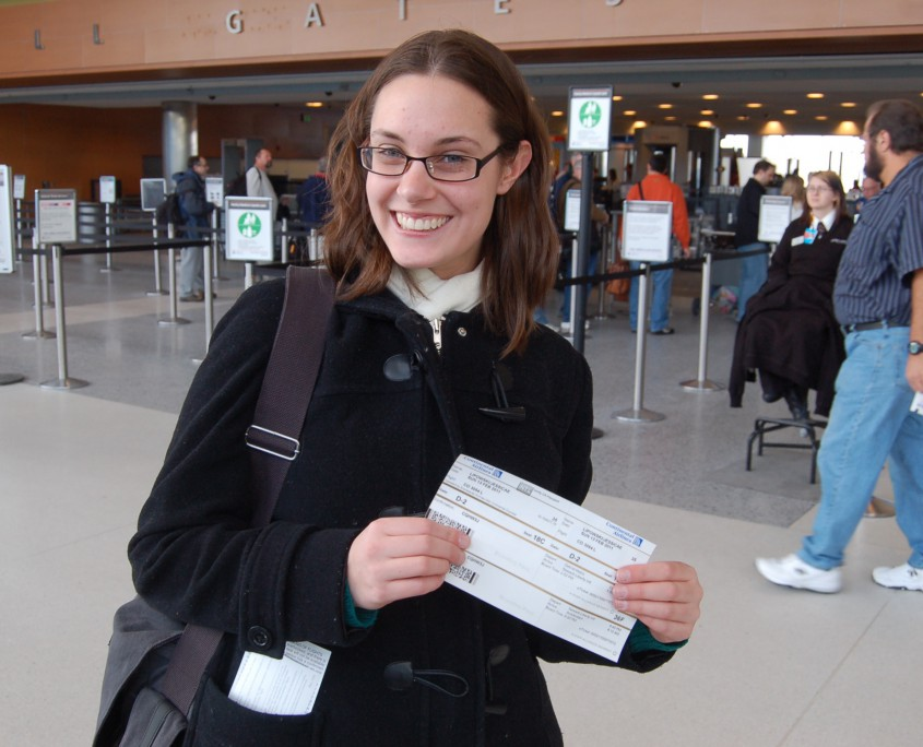 Plane tickets in hand, getting ready to board my flight to Amsterdam (February 2011).
