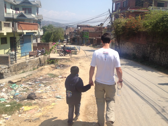 Mike making friends in Nepal. All photos in this post courtesy of Kathryn Pisco.